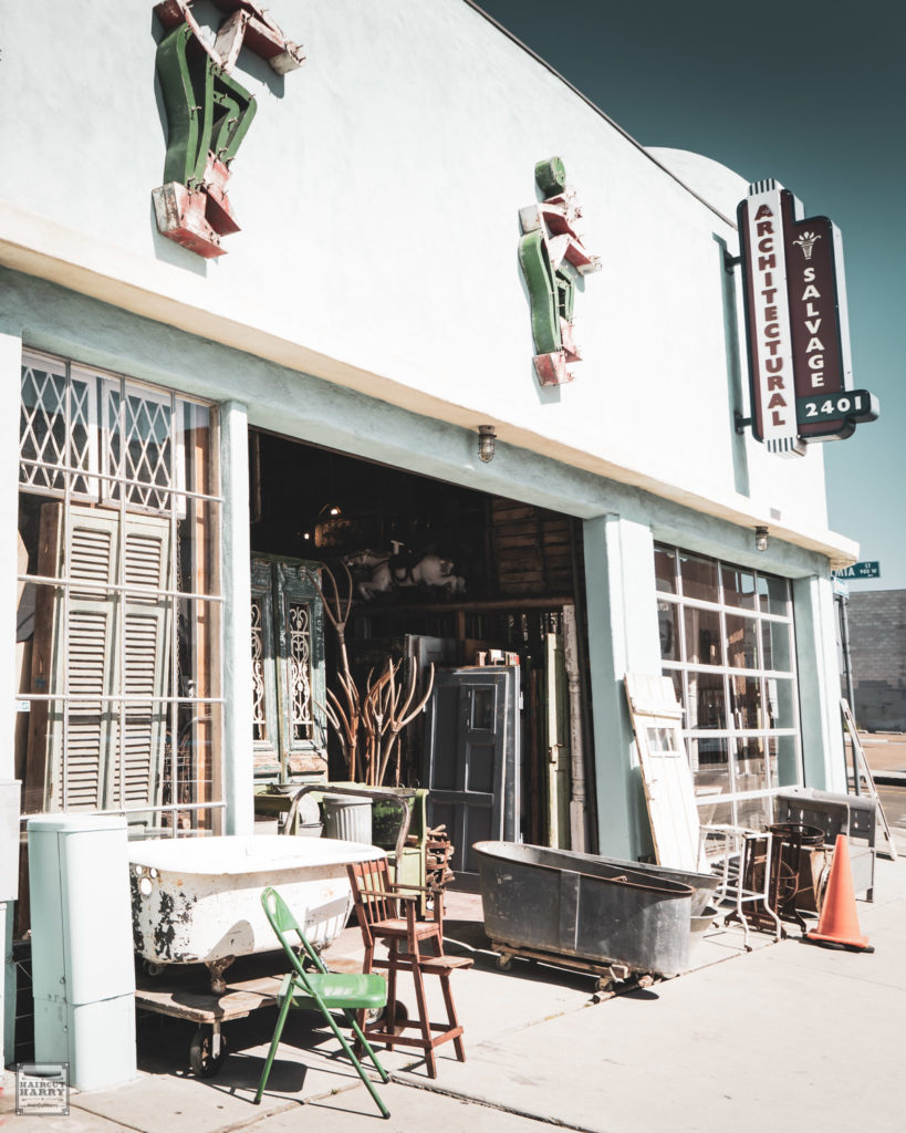Outside the entrance of Architectural Salvage of San Diego