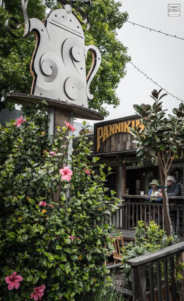 A coffeepot sign outside of Pannikin, San Diego