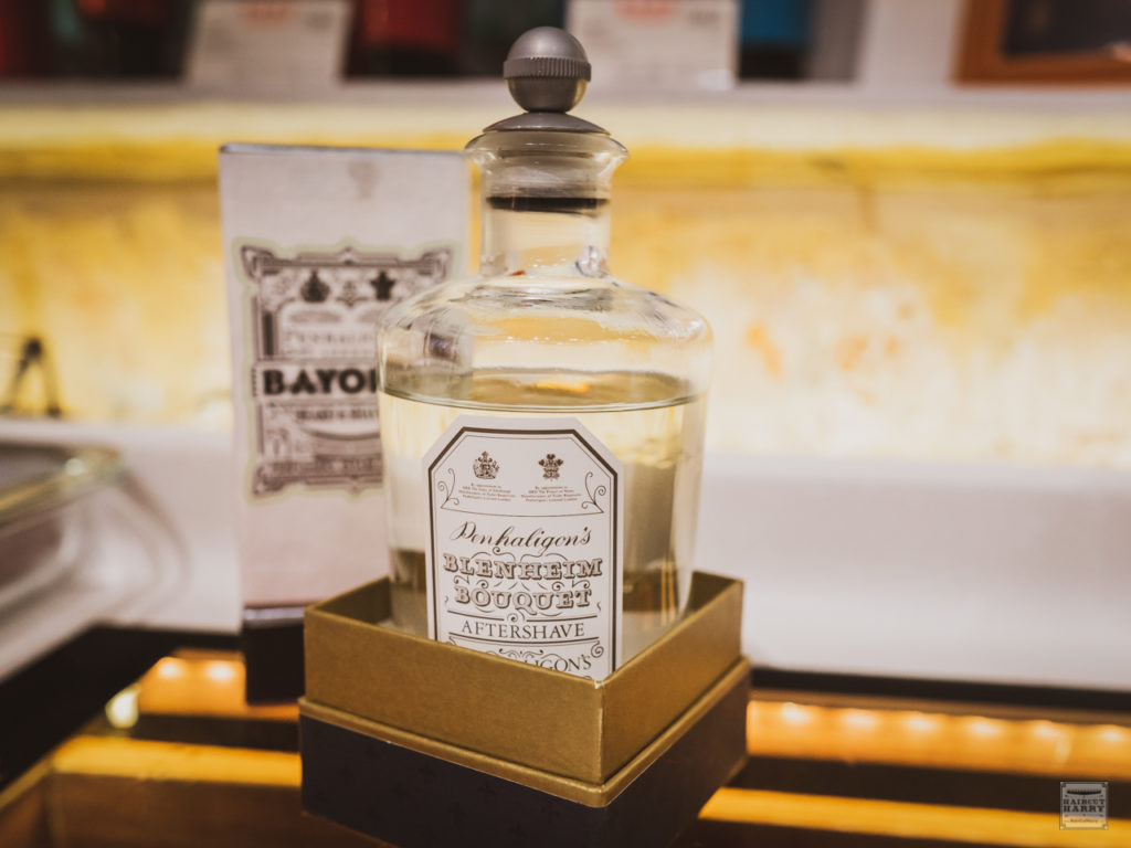 Penhaligon's Blenheim Bouquet Aftershave sitting on the counter at Oi Kwan Barbers