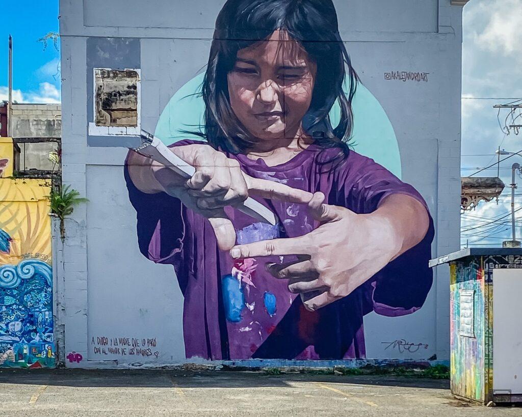 Street mural by artist Alejandro Rodriguez.