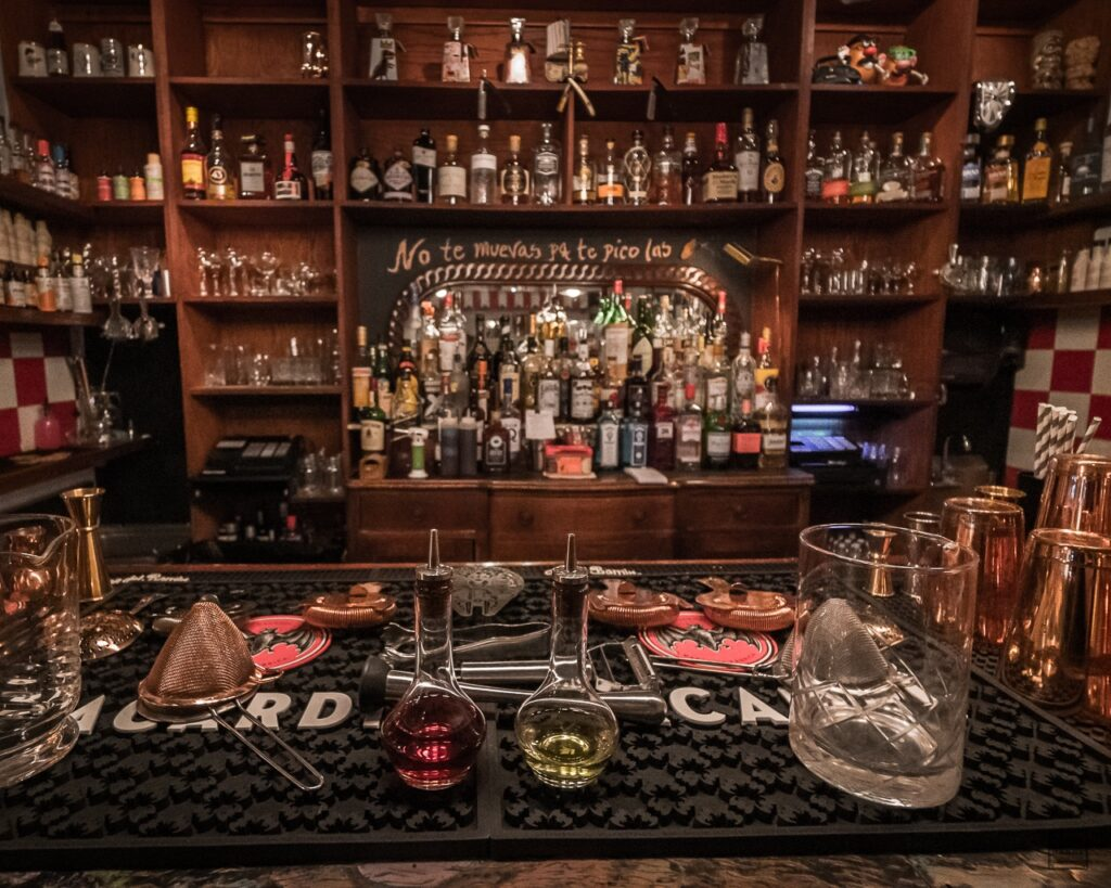 Interior photo of the bar where cocktails are mixed.