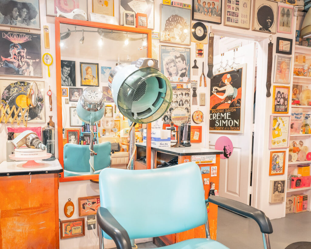 Turquoise salon chair and vintage hair dryer