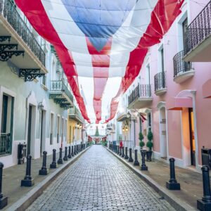 Flag of Puerto Rico hanging over the street in Old San Juan