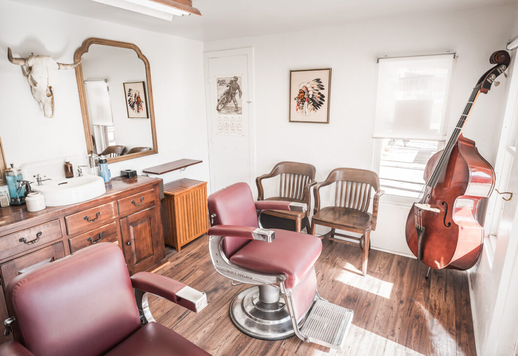 Two vintage Belmont barber chairs sit inside Electric Barbering in Williams, Arizona.