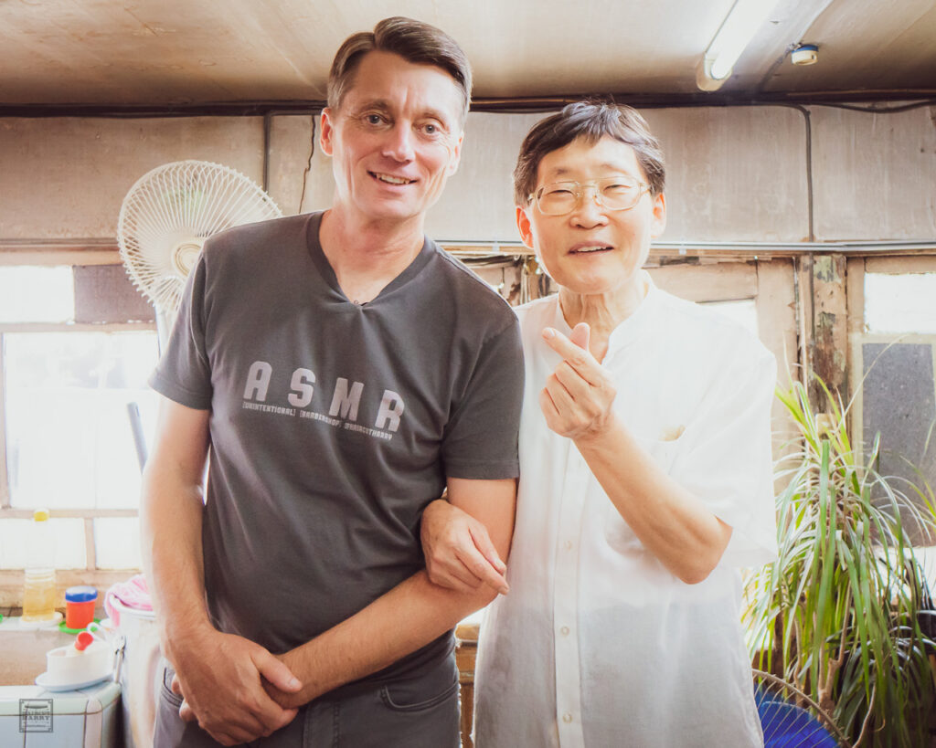 Haircut Harry and Mr. Lee inside Seongu Barbershop in Seoul, South Korea